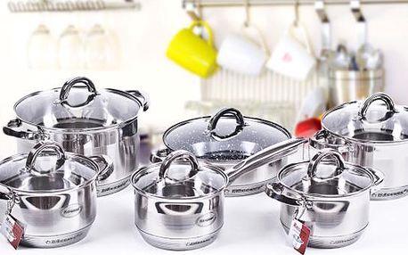 12 dílů indukčního nerezového nádobí včetně keramické pánve
