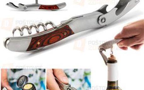 Dřevěný otvírák na lahve s vývrtkou a poštovné ZDARMA! - 9999921624