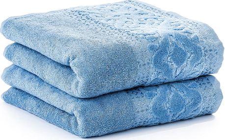 4Home ručník Magnolie, modrá, 50 x 90 cm, sada 2 ks
