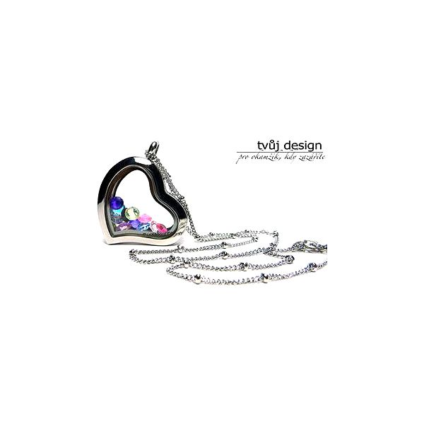 Krásný otvírací medailonek se řetízkem + ZDARMA krystalky v barvě dle vašeho výběru.