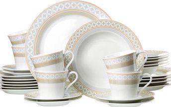 Jemná jídelní sada obsahující čtyři druhy talířů a šálky, až pro šest osob Ritzenhoff&Breker TORINO