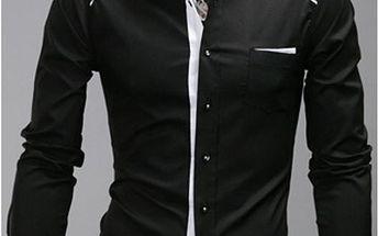 Pánská vypasovaná košile v černé a bílé variantě