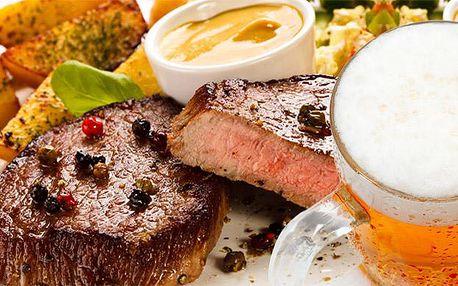 2 x 200g steak, 2 x pivo, příloha i omáčka dle výběru pro dva v restauraci Čertovka