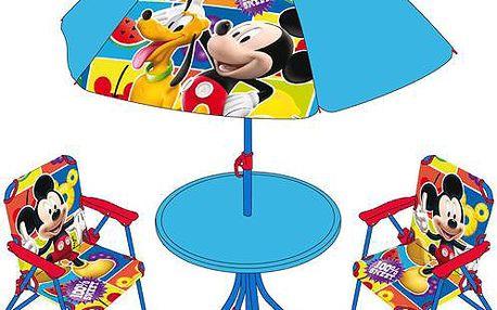 Dětský zahradní set 2 křesla, stůl a slunečník Mickey v dárkovém balení