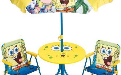 Dětský zahradní set 2 křesla, stůl a slunečník Sponge Bob v dárkovém balení
