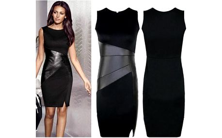 Pouzdrové šaty s koženkovými detaily Amy!