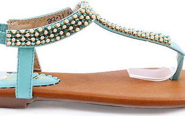 Modré sandálky s korálky