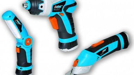 Multifunkční sada tři aku nástrojů. šroubovák, multifunkční nůžky a praktická led svítilna