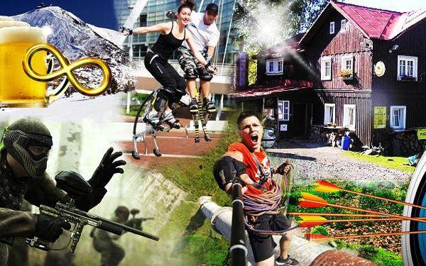 3 dny plné adrenalinu – paintball, skákací boty, slaňování, lukostřelba i trocha wellnessu a hlavně NEOMEZENÁ KONZUMACE PIVA!!!