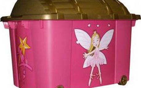 Úložný box pojízdný 57 l plastový 60x40x42 cm Víla růžová / hnědá ProGarden KO-896542