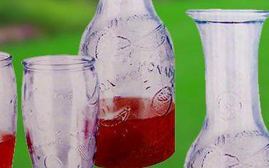 Skleněný set na servírování nápojů: karafa a 4 skleničky.