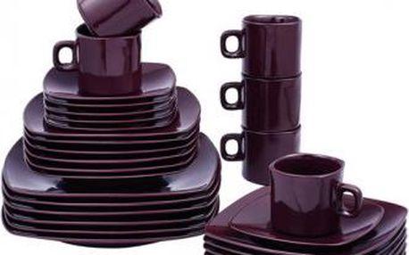 Jídelní sada talířů čtvercová 30 ks tmavě fialová VABENE VB-6300014
