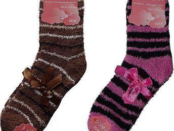 Sada čtyř párů chlupatých ponožek - 2x tmavě růžové a 2x hnědé, velikost 35-38