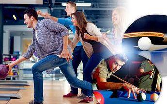 BOWLING s možností dalších her (stolní tenis, pool, fotbálek) + LÁHEV VÍNA až pro 8 osob, Praha 7