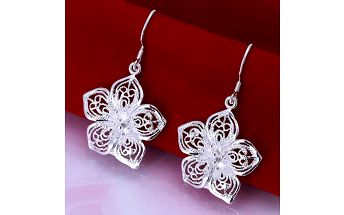 Náušnice - květiny ve stříbrné barvě