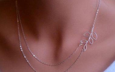 Dvojitý náhrdelník s lístečkem