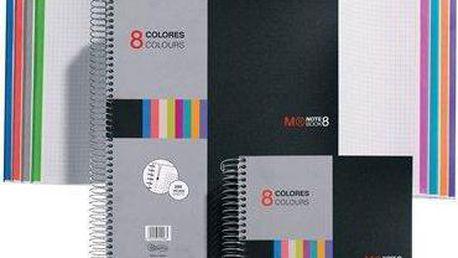 "Blok na psaní ""Note Book 8"", černá, linkovaný, drátěná kroužková vazba, A4, 200 listů, MIQUELRIUS"