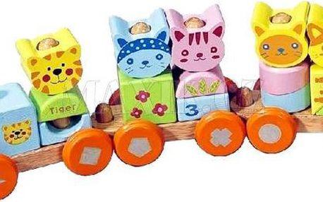 KidsHome Dřevěný vláček se zvířátky