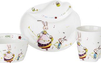 Sadá porcelánového nádobí pro děti - zajíc