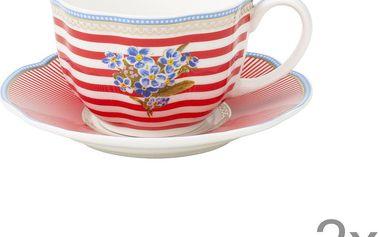 Porcelánový šálek s podšálkem Happy od Lisbeth Dahl, 2 ks