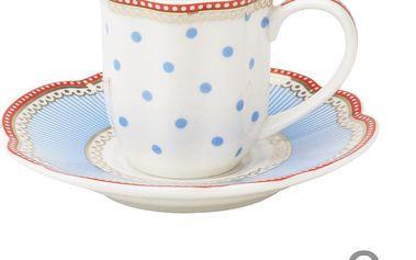 Porcelánový šálek na espresso s podšálkem Seaside od Lisbeth Dahl, 2 ks