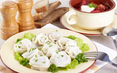 Ruské menu ve Sklípku U Munků - pelmeni a polévka pro dva
