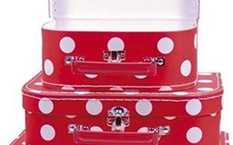 Sada dětských kufříků - červená, 3 ks
