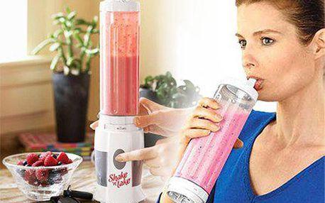Smoothie mixer Shake and Take s přenosnou lahví s brčkem.