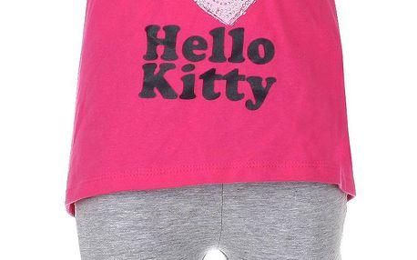 Dívčí růžovo-šedý Hello Kitty set - top a leginky