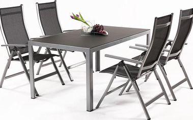 Hliníková sestava Avalis 4+ obsahuje 4 polohovatelná křesla v kombinaci s překrásným stolem ze zatmaveného skla