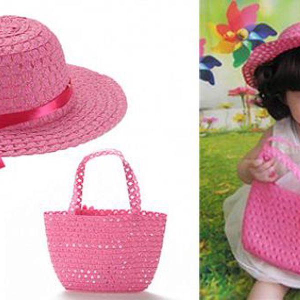 Dětský letní klobouk s kabelkou s kvalitního materiálu vhodný pro děti od 3-8 let!