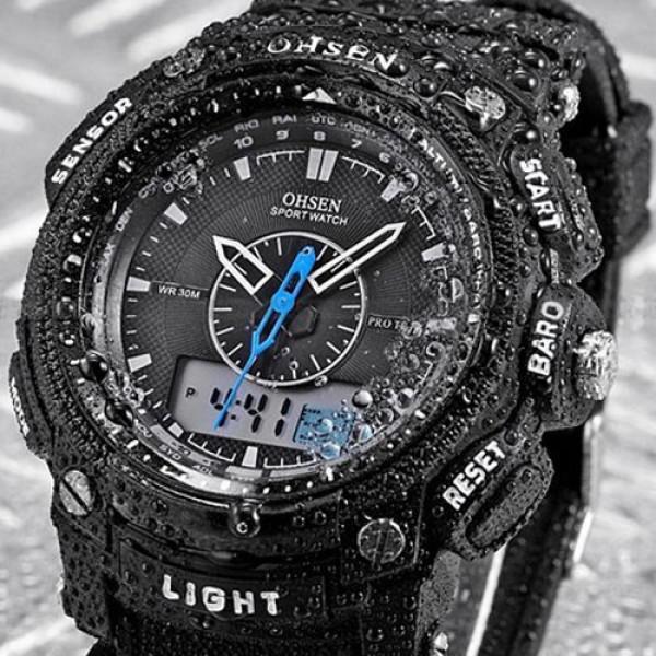LCD OHSEN pánské černé hodinky