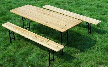 Set pivní zahradní stůl + 2 lavice, dřevo/kov