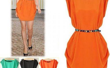 Volné šaty s páskem - 3 barvy