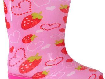 Dívčí holínky se srdíčky - růžové