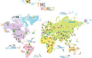 Ambiance Dekorační samolepky - mapa světa