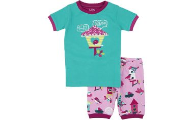 Dívčí letní pyžamko, růžovo-zelené