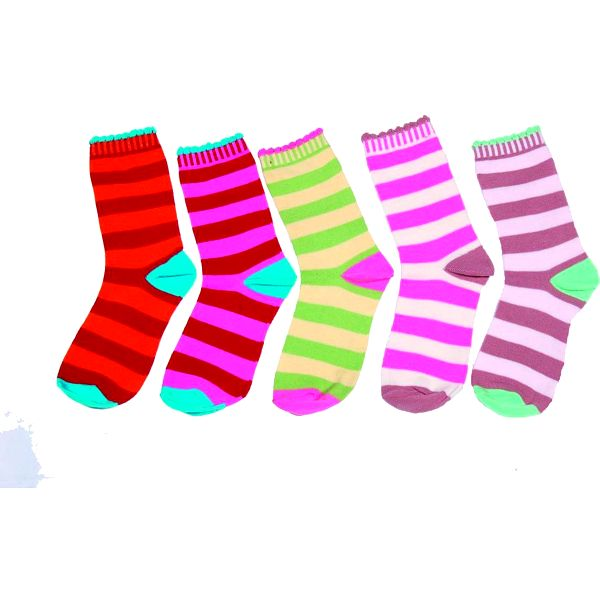 Sada 5ks dívčích pruhovaných ponožek