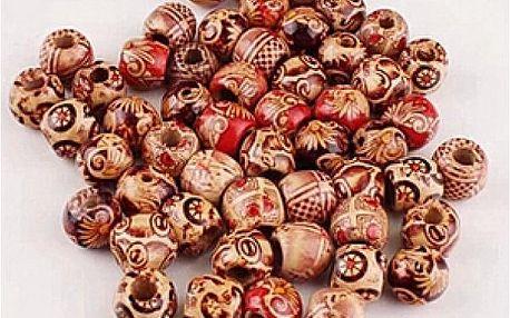 100 ks dřevěných korálků se vzorem