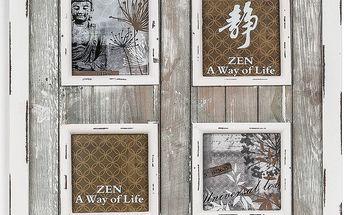 Dřevěný fotorámeček na 4 fotografie šedá