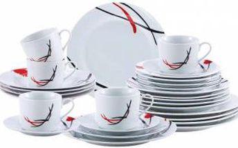 Jídelní sada talířů 30 ks OSLO, bílá / červeno-černý dekor RENBERG RB-80109