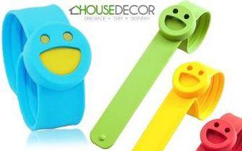 Silikonový náramek PROTI KOMÁRŮM Smiley + 6 náplní. Doprava v ceně. Netoxický - vhodný pro děti.