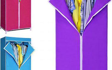 Skládací šatní skříň na oblečení s poličkou a ocelovou konstrukcí!
