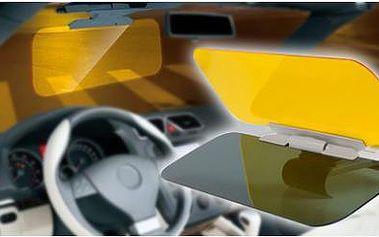Denní a noční clona do auta – řiďte pohodlně a bezpečně! Oranžová clona snižuje jas světel protijedoucích aut v noci, černá clona rozptyluje prudké sluneční paprsky a světlo.