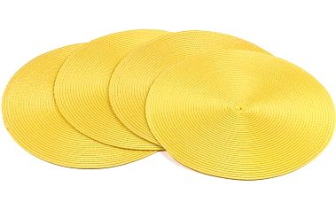 Jahu Prostírání Deco kulaté žlutá, pr. 35 cm, sada 4 ks