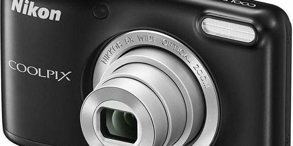 Digitální kompakt Nikon Coolpix L29 Black + nabíječka + 2xAA nabíjecí baterie