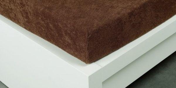 XPOSE ® Froté prostěradlo Exclusive dvoulůžko - hnědá 180x200 cm