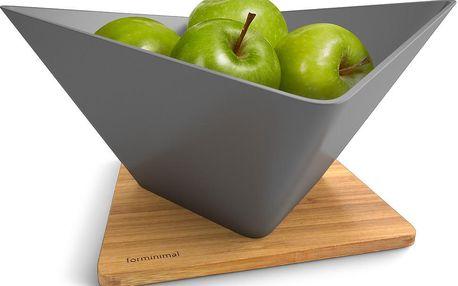 Odkapávací mísa na ovoce s podložkou Draining Fruit Bowl, šedá