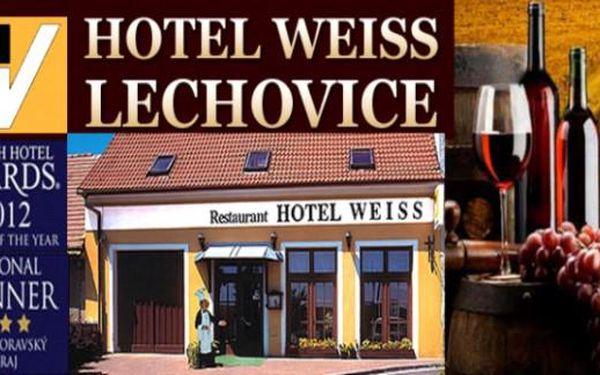 JIŽNÍ MORAVA: 3 dny vinařský pobyt v oceněném Hotelu Weiss Lechovice s polopenzí a vínem