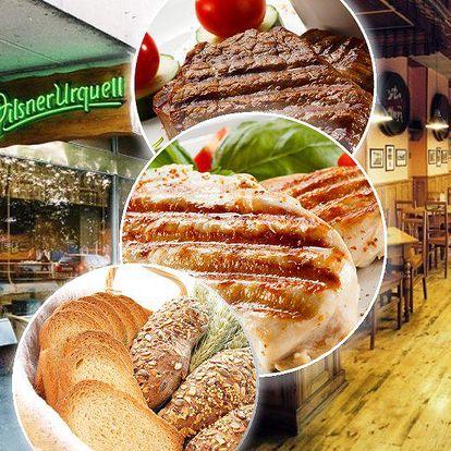 Steak z vepřové kýty nebo kuřecí prsní steak. Vynikající menu pro dvě osoby v restauraci Severka.